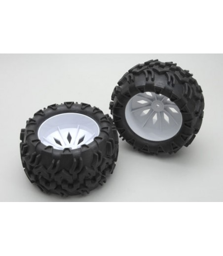 River Hobby Wheels and Tyres White(Pair)- Blaze