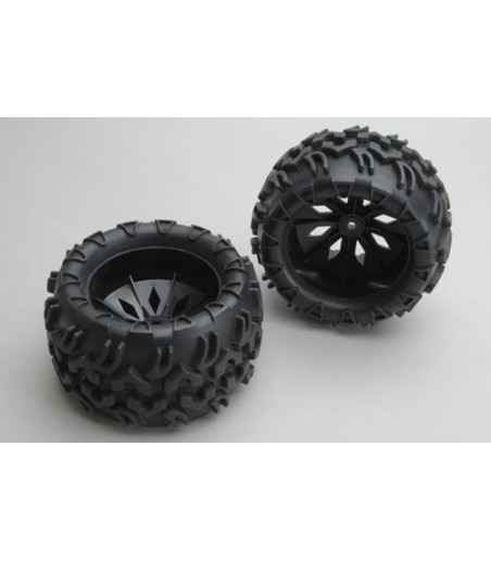 River Hobby Blaze - Black Wheels and Tyres (Pair)