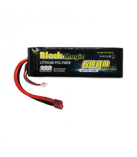 BLACKM 6000mAh 7.4V 2S2P 30C Semi Hard T-Type Connector O-BM35-6002T
