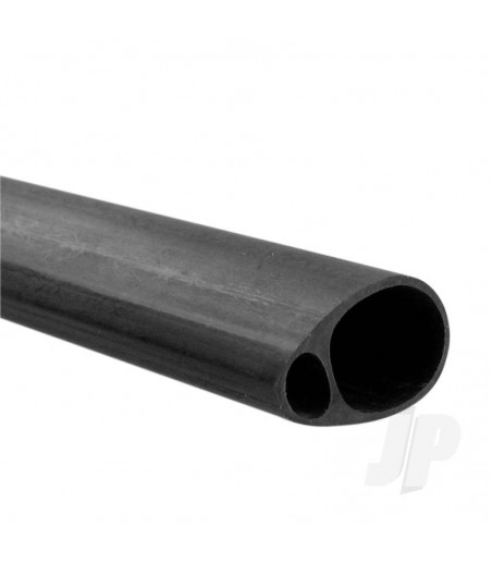 Carbon Fibre Elliptic Tube 19mm x 12.5mm x 1m