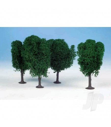 1010 3 Lichen Birch Trees 12cm (Dark Green)