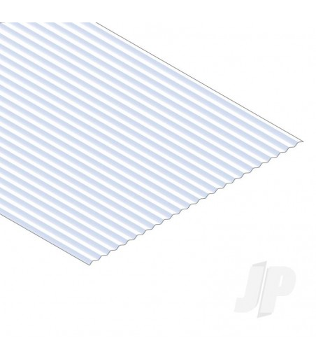 12x24in (30x60cm) Corrugated Metal Siding Sheet .040in (1.0mm) Thick .080in Groove Spacing (1 sheet per pack)
