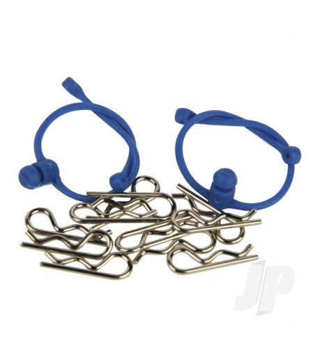 Body Clips (10pcs) with Blue Retainers (2pcs)