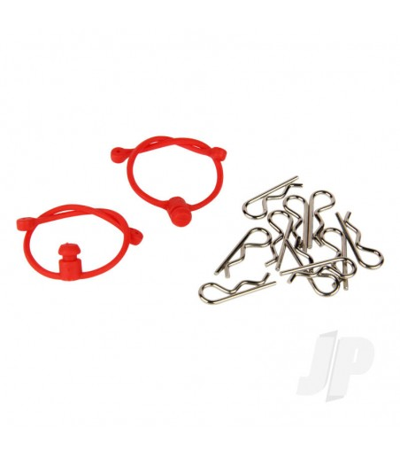 Body Clips (10pcs) with Red Retainers (2pcs)