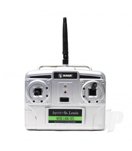 Micro 4-Channel Airplane TX with 200mAh Charger, Mode 1 (Spirit of St. Louis)