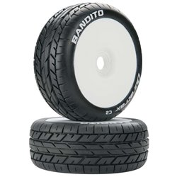 DURATRAX Bandito 1/8 Buggy Tire C2 Mounted White (2) G-DTXC3638