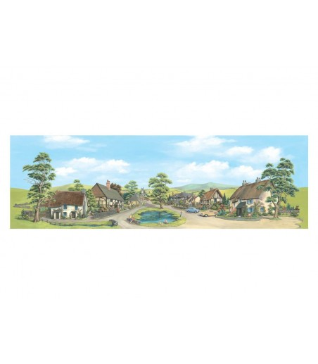 Peco Medium background Village with Pond 178mm x 559mm (7in x 22in)