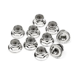 Hpi Racing  SERRATED FLANGE LOCK NUT M4 (SILVER/10pcs) 103729