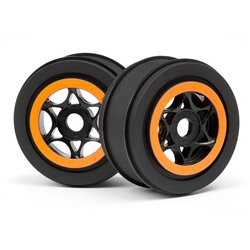Hpi Racing  AH-64 WHEEL BLACK/ORANGE (42x83mm/2pcs) 107855