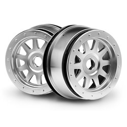 Hpi Racing  TR-10 GLUE-LOCK WHEEL MATTE CHROME (120X60MM/2PCS) 108321