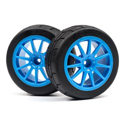 Hpi Racing  MOUNTED GYMKHANA TIRE/SPEEDLINE CORSE TURINI WHEEL SET (CYAN/2PCS) 115155
