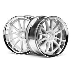 Hpi Racing  WORK XSA 02C WHEEL 26mm CHROME/WHITE (3mm OFFSET) 3283