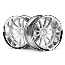 Hpi Racing  WORK XSA 02C WHEEL 26MM CHROME/WHITE (9MM OFFSET) 3285