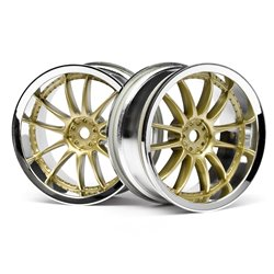 Hpi Racing  WORK XSA 02C WHEEL 26mm CHROME/GOLD (3mm OFFSET) 3297
