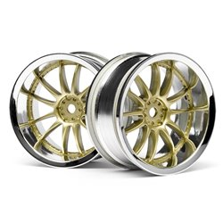 Hpi Racing  WORK XSA 02C WHEEL 26mm CHROME/GOLD (6mm OFFSET 3298