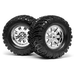 Hpi Racing  MOUNTED SUPER MUDDERS TIRE 165x88mm on RINGZ WHEEL SHINY CHROME 4726