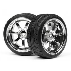 Hpi Racing  MOUNTED T-GRIP TIRE 26MM RAYS 57S-PRO WHEEL CHROME 4738