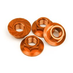 Hpi Racing  SERRATED FLANGE NUT M4 (ORANGE/4PCS) 87267