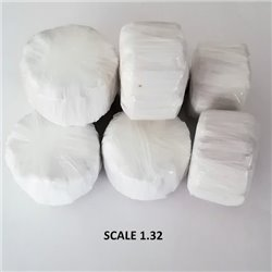 ROUND BALES WHITE WRAP FOR SCALE 1:32 WHITE PACK OF 10