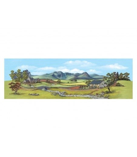 Peco Medium background Country with River 178mm x 559mm (7in x 22in)