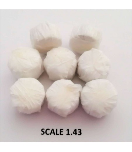ROUND BALES WHITE WRAP FOR SCALE 1:43 WHITE PACK OF 10