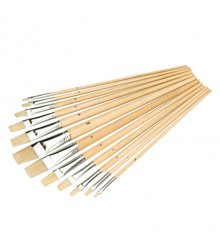 Silverline Flat Tipped Artists Paint Brush Set 12pce 633927