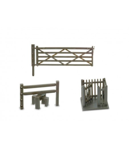 Peco 3 Field Gates, 3 Stiles and 1 Wicket Gate N Gauge NB-46