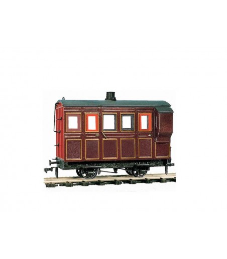 Peco 4 Wheel Coach/Brake, maroon livery O-16.5 Gauge OR-31