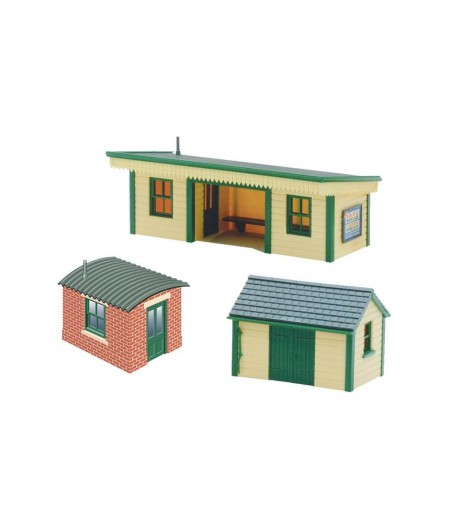 Peco Platform shelter, wooden type with 2 huts N Gauge NB-16