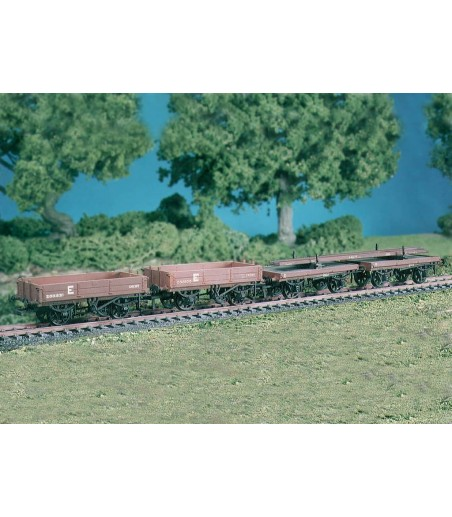Ratio Permanent Way Wagons (set of 4) (M/W, B/B) All Gauges 575