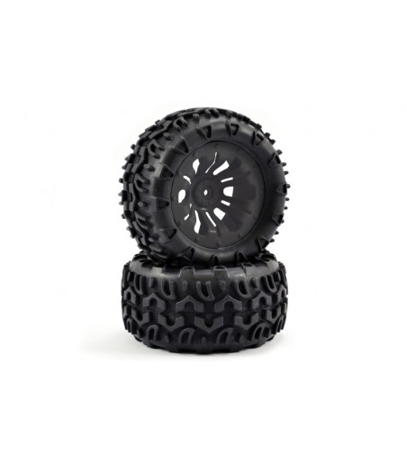 FASTRAX 1/10 KLAXON TRUCK TYRE MOUNTED ON 12-SPOKE (12mm HEX)