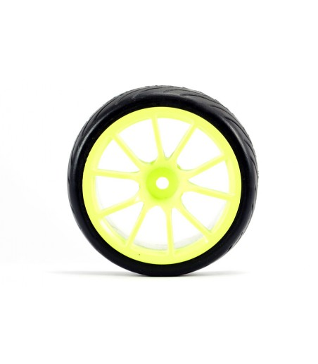 FASTRAX 1/10 STREET/TREAD TYRE 10SP NEON YELLOW WHEEL 2
