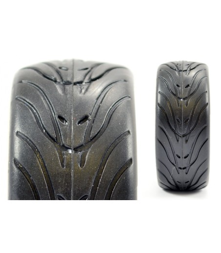 FASTRAX 1/10 STREET/TREAD TYRE 14SP GUN METAL WHEEL