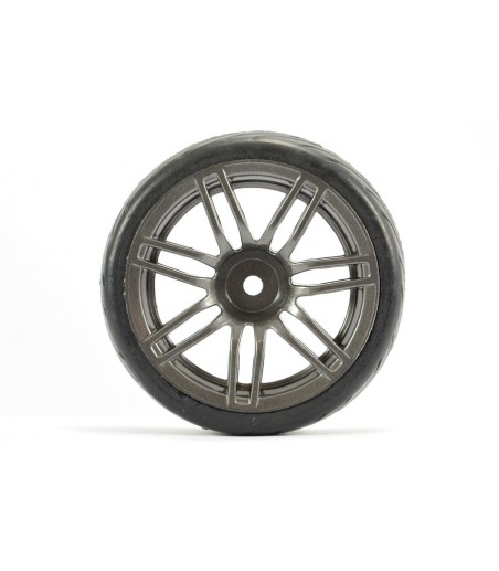 FASTRAX 1/10 STREET/TREAD TYRE 14SP GUN METAL WHEEL 2